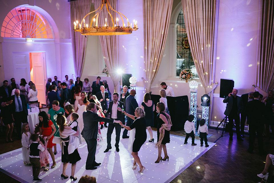 White portable dance floor used by Farnham Sound _ Light