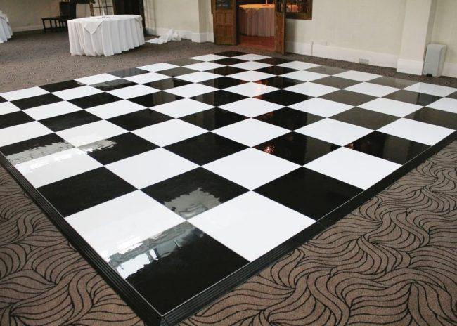 Publok black and white portable dance floor set up