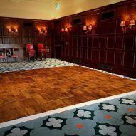 Bracken Portable Dance Floor in a hotel room