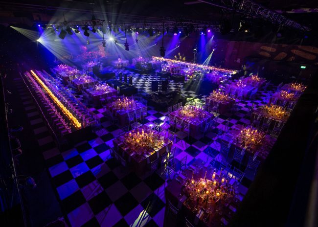 Publok black and white portable dance floor used on disco party