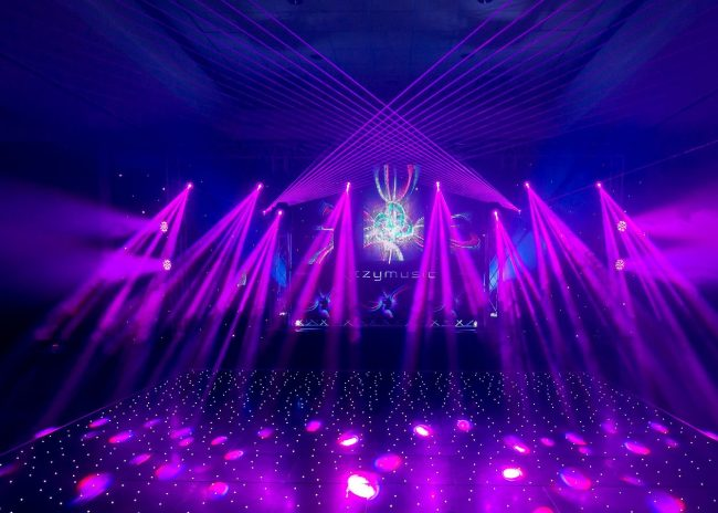 LED twinkling portable dance floor in black acrylic from portable flormaker