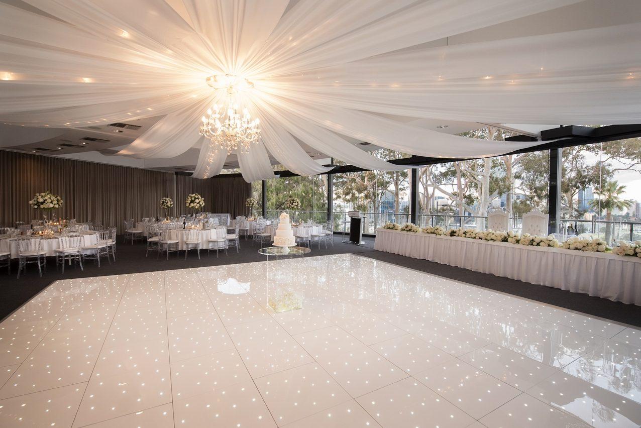 white LED dace floor as a wedding avenue decoration