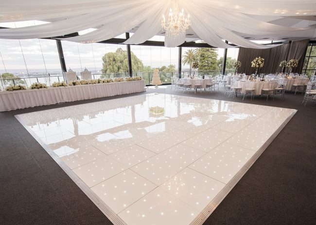 LED twinkling portable dance floor in white acrylic from portable flormaker