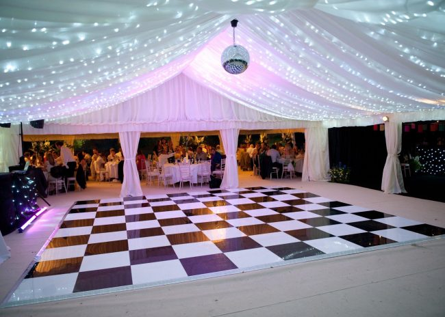 Publok black and white portable dance floor set up for event party