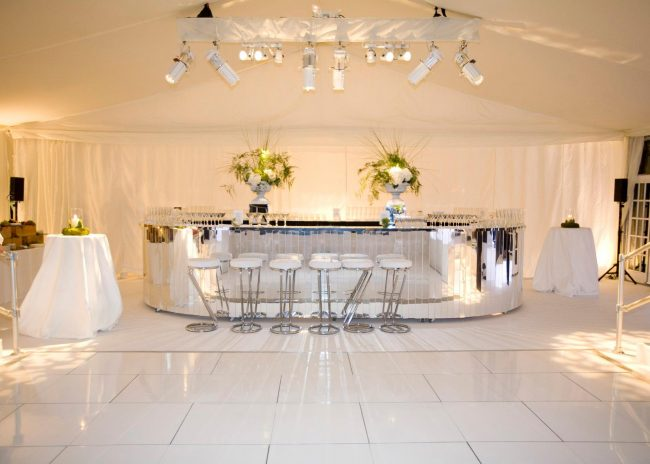 Wedlok acrylic white dance floor in a hotel bar