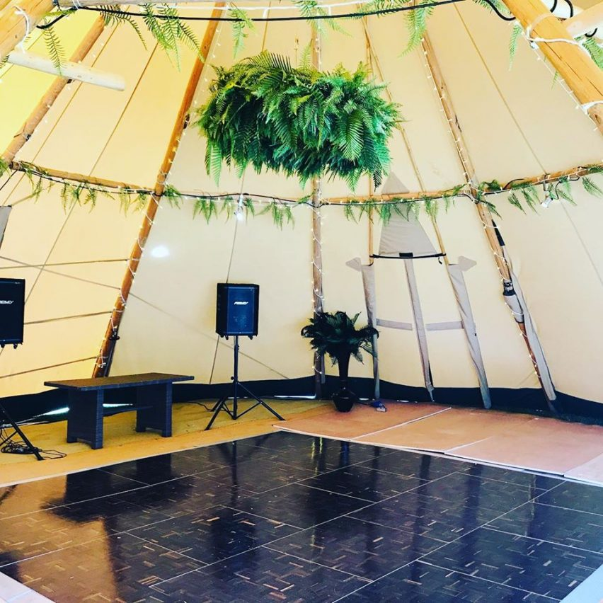 Florlok Smoked Oak Portable Dance Floor- Java Tipis