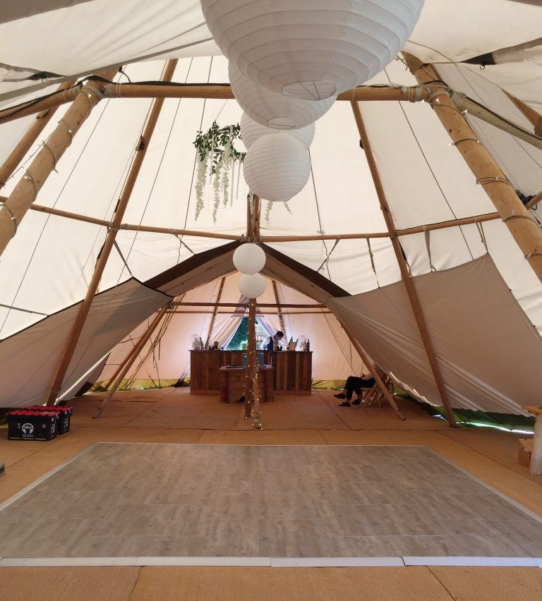 Multilok Distressed Oak Portable Dance Floor - Cheshire Tipi Company