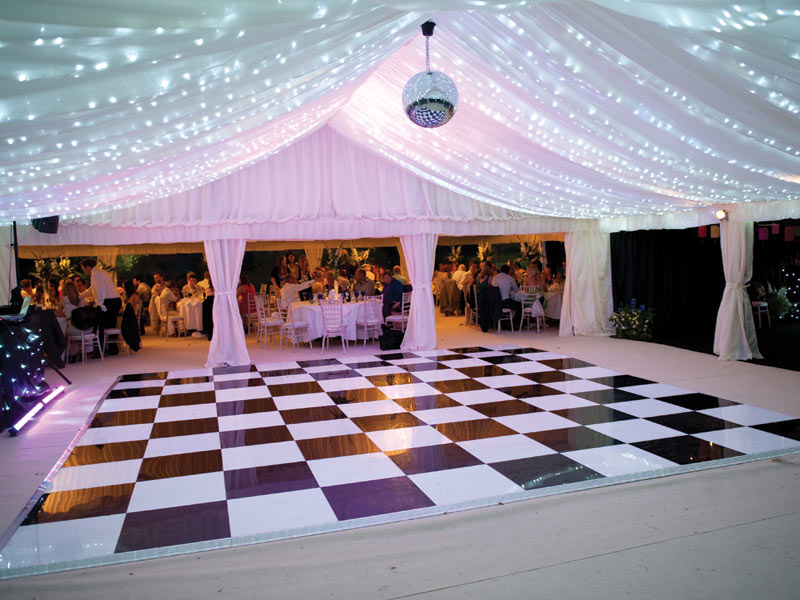 Publok Black and White Acrylic Portable Dance Floor - Abbas Marquees