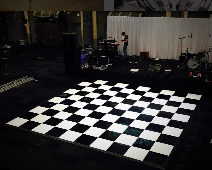 Publok Black and White Acrylic Portable Dance Floor - Starlight Dance Floors