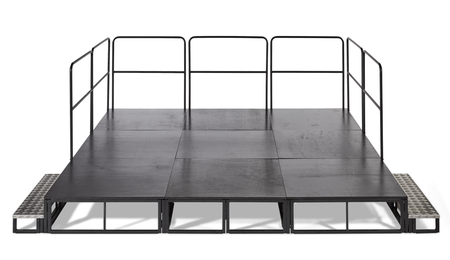 Stage with step and guard rail option
